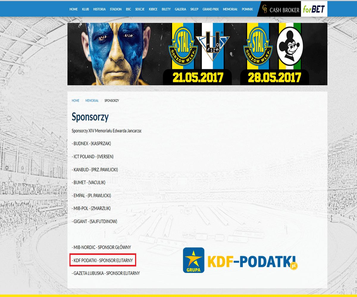 Stal Gorzów Karnety Stal Gorzów Bilety Grand Prix Gorzów KDF Elitarny Sponsor Stali Gorzów